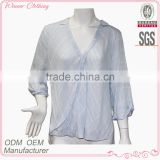 factory ladies summer tops charming cotton long sleeve blue blouse