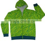 Professional Fleece Wear Manufacturer designs itself full print fleece hooded men casual jacket polyester ,240g brushed inside