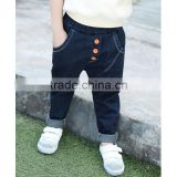 China factory cheap price baby jeans Korean style elastic waistband model blue pure color with 3 button decoration kids pants