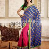 Trendy Embroidered Saree Half And Half Banarasi Silk Saree DA603
