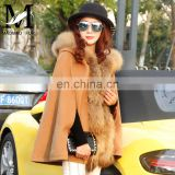 New Women's Classic Raccoon Fur Collar Trench Cloak Cape Shawl Coat Handmade Wool Coat