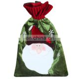 42*27CM Medium Drawstring Cloth Kid Christmas Gift Bag and Candy Bag - Green Santa Claus