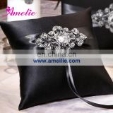A-R1 Black wedding ring pillow with rhinestone brooch