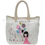 cartoon printing canvas bag for shopping