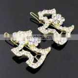2013 newest fashion alloy cute dog rhinestone hair clip