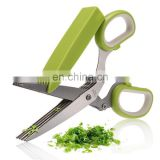 NEW 5 Blade Kitchen Herb Shredding Paper Multi-Cut Herb Scissors Stainless Steel
