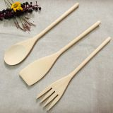 3 Pieces Wooden Cutlery for Kitchen,Contains Spoon, Spatula and Food Turner,Made of Chinese cherry