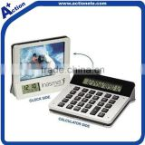 12 digital calculator and calendar clock