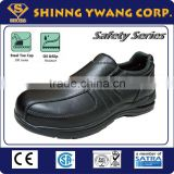 Low cut Elastic No Laces Black Genuine Leather Men Safety Shoe