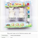 CERAMIC PAINT KIT EASTER RABBIT DIY 6 COLORS 2ML PER COLOR WITH CERAMIC RABBITS AND A BRUSH NON-TOXIC FOR KIDS