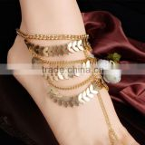2015 New products retro heavy multi-layer chain tassel anklets