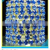 Shoe Chain Rhinestone Ss30 6mm Sapphire Crystal Gold Claw Roll
