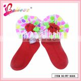 Hot sale baby products made in China ribbon decoration nice soft baby christmas socks (WT-0006)