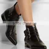 Alibaba Express Women Boot, Buckle Decoration Unisex Leather Bootie, New Coming in 2015 Winter OEM Ladies Ankle Boots