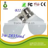 New Design Low Cost ceramic Housing SMD2835 3W LED light B22 lamp holder with CE and ROHS Certificated