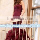 Carpet Gossip Girl Leighton Meester Burgundy Strapless Wedding Dress Bridal Gown TPDW002
