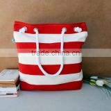 2013 spring, For market or beach or gym, Bags handmade Lovely Bag white and Red striped beach bag.