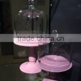 Clear Dome Pink Ceramic Base Wedding Cake Stands