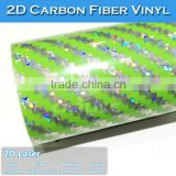 Waterproof 2D Carbon Fiber Car Vinyl Wrap Rainbow Holographic Sticker