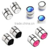 Stainless Steel Fake Cheater Magnetic Crystal Nose Ear Lip Stud Non Piercing