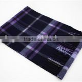 Navy and Purple Checked Wool Scarf