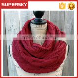 A-247 cable knit red scarf neck warmer infinity cable knitting chunky scarf chunky cable knitted scarf
