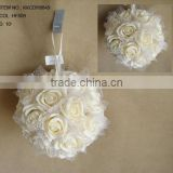 "2014 Popular Artificial PE Flower 10"" Artificial PE Wedding Rose Hanging Ball"