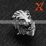 In Stock 2016 Hot Sale Rock and Roll Statement Punk Style Black Silver 316L Stainless Steel Lion Ring