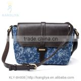 New style jeans shoulder bags cowboy contrast genuine leather bags, pu is optional