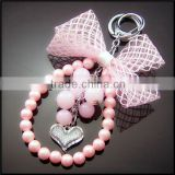 Top quality korean stylish pearl beaded necklace heart rhinestone pendant alloy keychain