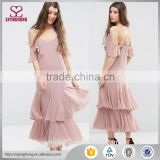 Layered skirt fancy maxi summer dress frill hem and cold shoulder maxi chiffon girls dress                                                                                                         Supplier's Choice