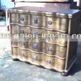 Antique Chest Curved - Indoor Furniture Mahogany Wood - French Cabinets for Bedroom Sets