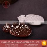 Custom Gold Plated Ceramic Soap Dish Pineapple Shape