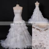 ivory lace crystal embellishment mermaid organza wedding dress 2013