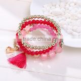 4pcs/set Bohemian Multilayer Imitation Matt Crystal Beads Tassel Elastic Bracelets Bangles For Women