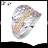 925 sterling silver net pattern ring with gold plated