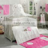 Hot Sale 100% Cotton fashion embroidery design with applique with baby bedding set