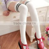 Wholesale Sexy girls knee high socks fashion young girls thigh high socks with little striped on top