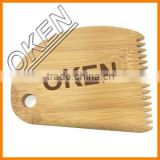 2016 oken free etching wholesale customized logo bamboo surf wax comb