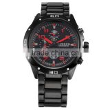 CURREN Black Red Auto Date Display Analog Stainless Steel Strap Male Clock Quartz Sport Men Wrist Watch