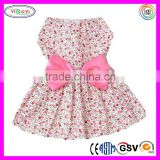 C216 New Spring Summer Pet Skirt Lady Dog Dress Floral Skirt Princess Bow Long Soft Denim Skirts