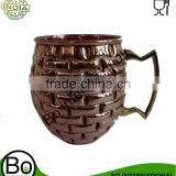 EMBOSSED BARREL SHAPE PURE COPPER MOSCOW MULE MUG WITH NICKLE LINING INSIDE