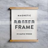 Maple Wood Poster Frame Customization Advertising Board Poster Hanger with Hanging Rope and Magnetics
