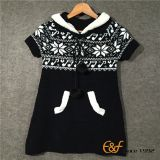 Long Section Sweater with Snowflake Jacquard for Girl