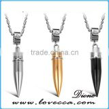 Top Quality Silver Black Gold 42*9mm Men's bullet stainless steel pendant necklace