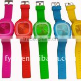Colorful silicone rubber jelly watch for women