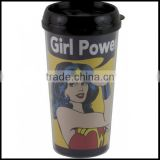 Wonder Woman Girl Power 16 Oz Travel Coffee Mug Cup Plastic Tumbler,custom plastic travel coffee Mug plastic cups for sale maker
