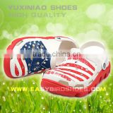 Beautiful flag beach shoes children adults, new design men sandals relaxation slippers shoes on the beach or outdoor