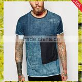High quality mens patchwork tee shirts wholesale raw hem denim print t shirt custom logo