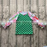 Baby Wholesale 2017 Christmas Icing Ruffle Raglan Polka Dot Green Cotton Long Sleeves T-Shirt